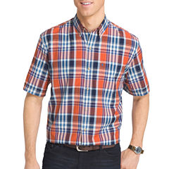 IZOD Short-Sleeve Saltwater Plaid Button-Front Shirt