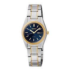 Seiko® Womens Two-Tone Blue Solar Watch SUT110