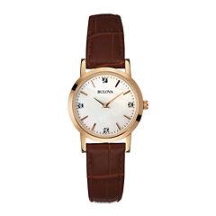Bulova® Womens Diamond-Accent Brown Leather Strap Watch 97P105