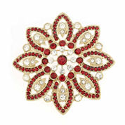 Red Crystal and Gold-Tone Poinsettia Pin