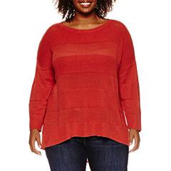 Stylus™ 3/4-Sleeve Striped Layered Sweater - Plus
