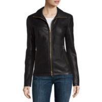 Liz Claiborne Wing-Collar Faux-Leather Womens Coat (Black/Camel)