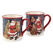 Certified International Snowy Santa Set of 4 Mugs