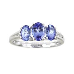 LIMITED QUANTITIES  Genuine Tanzanite and Diamond-Accent 3-Stone Ring
