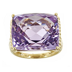 LIMITED QUANTITIES  Cushion-Cut Genuine Pink Amethyst Ring