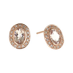LIMITED QUANTITIES Genuine Morganite and 1/5 CT. T.W. Diamond Earrings