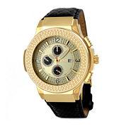 JBW Saxon Mens 1/6 CT. T.W. Diamond Black Leather Strap Watch JB-6101L-D