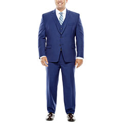 Collection by Michael Strahan Blue Herringbone Suit- Big and Tall