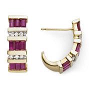1/10 CT. T.W. Diamond & Glass-Filled Ruby Earrings
