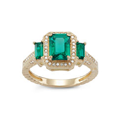 Lab Created Emerald And 1/4 C.T. T.W. Diamond 10K Yellow Gold Ring