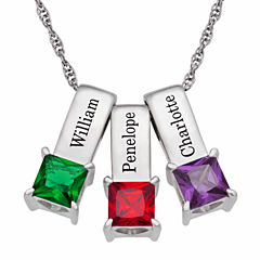 Personalized Silver Cubic Zirconia Birthstone 3 Name Pendant Necklace
