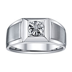 Mens Diamond Accent Stainless Steel Ring