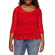 Decree® 3/4-Sleeve Lace Peplum Top - Juniors Plus