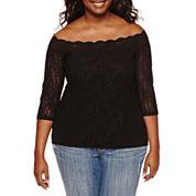 Decree® Off-Shoulder Lace Bodycon Top - Juniors Plus