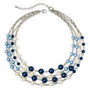 Aris by Treska Blue Bead Silver-Tone Multi-Strand Necklace