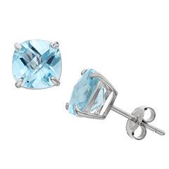 Cushion Blue Blue Topaz Sterling Silver Stud Earrings