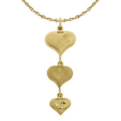 Infinite Gold™ 14K Yellow Gold 3-Heart Pendant Necklace