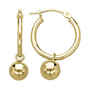 Infinite Gold™ 14K Yellow Gold Polished Drop Ball Hoop Earrings