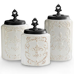 Jay Imports White Antique 3-pc. Canister
