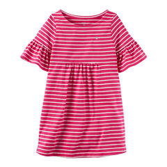 Carter's Short Sleeve Bell Sleeve Stripe A-Line Dress - Toddler Girls