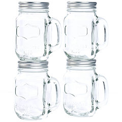 Set of 4 Glass Mason Jars with Metal Lids