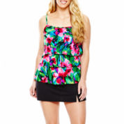 Jamaica Bay® Triple Tier Tankini Swim Top or Slit Skirted Bottoms - Plus