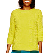 Stylus™ 3/4-Sleeve Cropped Cable Sweater