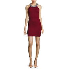 Speechless Sleeveless Embellished Halter Ponte Dress - Juniors