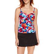 Jamaica Bay® Pretty Pleats Diagonal Ruffle Tankini Swim Top or Ruffle Hem Swim Skirt