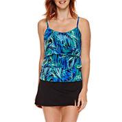 Jamaica Bay® Photo Leaf Triple-Tier Ruffle Tankini Swim Top or Side-Slit Swim Skirt