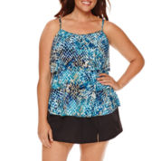 Jamaica Bay® Muted Reptile Triple-Tier Swim Top or Side-Slit Swim Skirt