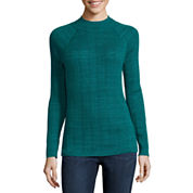 St. John's Bay® Long-Sleeve Mockneck Rib Sweater