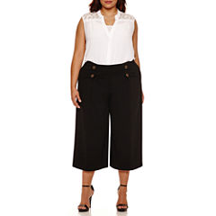Boutique+ Lace-Back Button-Front Shirt or Flared Sailor Cropped Pants - Plus