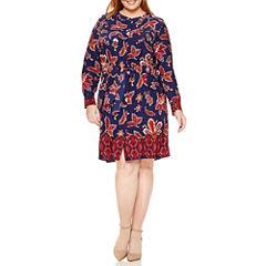 Liz Claiborne® Long-Sleeve Shirt Dress - Plus