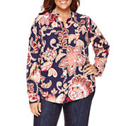 Liz Claiborne® Long-Sleeve Print Popover Top - Plus