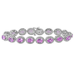Lab-Created Pink Sapphire with Diamond Accents Sterling Silver Milgrain Link Bracelet