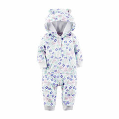 Carter's® Ivory Floral Fleece Hooded Jumpsuit - Baby Girls newborn-24m