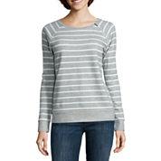 Liz Claiborne® Long-Sleeve Zip-Shoulder Sweatshirt - Petite