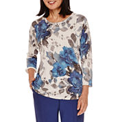 Alfred Dunner® Crescent City 3/4 Sleeve Floral Sweater
