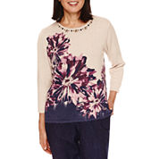 Alfred Dunner Sierra Madre 3/4 Sleeve Print Sweater