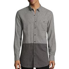 Arizona Long-Sleeve Longer-Length Colorblock Flannel Shirt
