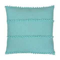 Thro by Marlo Lorenz Petrina Pom Pom Payton Faux Velvet Throw Pillow
