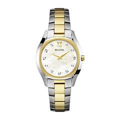 Bulova® Diamonds Maiden Lane Womens Diamond-Accent Bracelet Watch 98P145