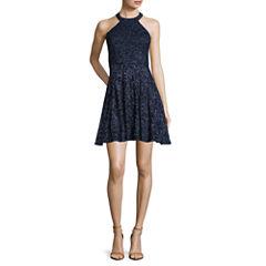 Be Smart Sleeveless Chokerneck Glitter Lace Party Dress - Juniors