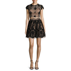 City Triangles® Cap-Sleeve Illusion-Lace 2-pc. Party Dress - Juniors
