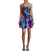 Be Smart Strapless Sweetheart Floral Party Dress - Juniors