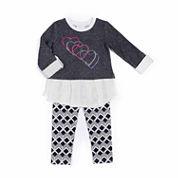 Little Lass® Heart Snit Leggings Set - Preschool Girls 4-6x