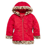 Pistachio Heart Quilted Jacket - Toddler Girls 2t-5t