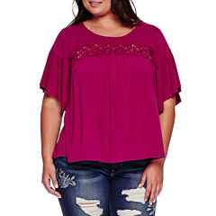 Boutique+ Elbow-Sleeve Lace-Yoke Knit Top