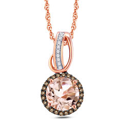 Pink Morganite Round 10K Gold Pendant